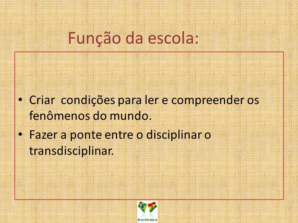 Função da escola: Criar condições para ler e compreender os fenômenos do mundo.