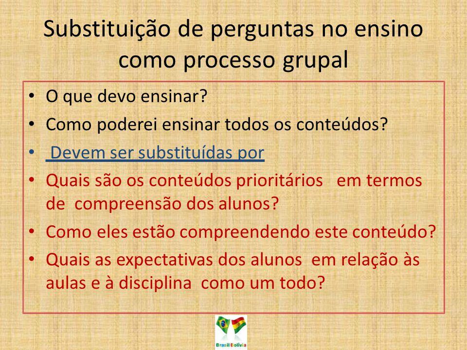 Substituição de perguntas no ensino como processo grupal