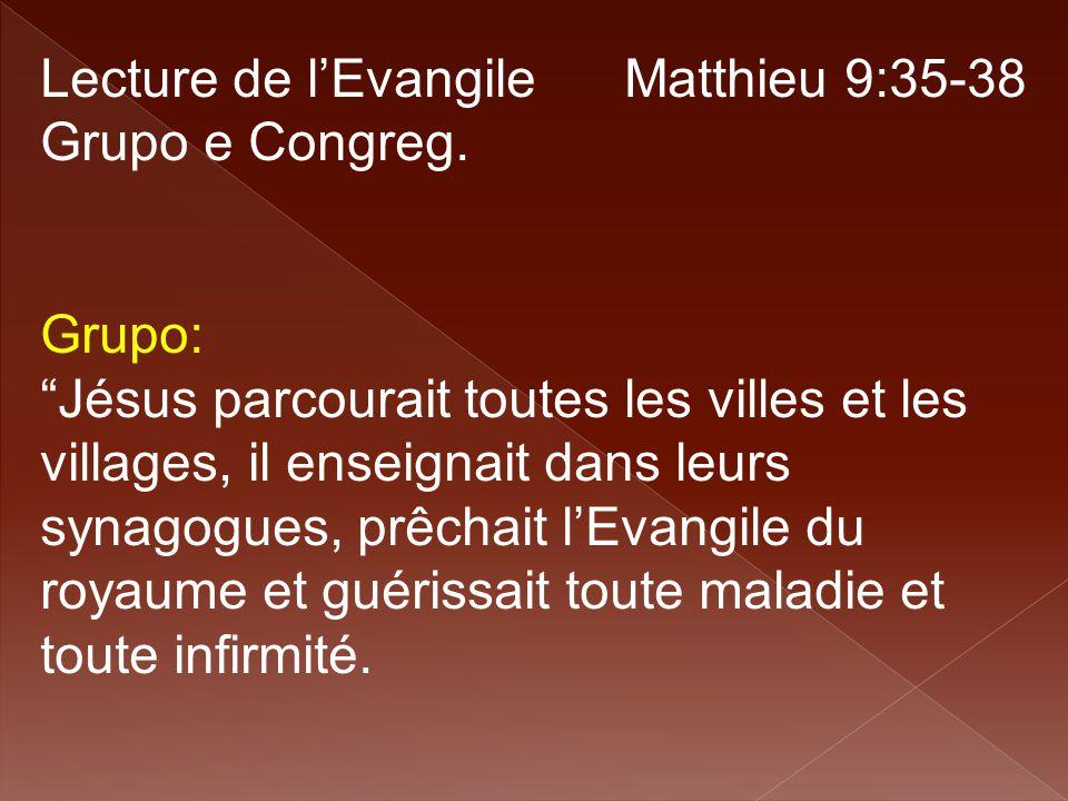 Lecture de l'Evangile Matthieu 9:35-38