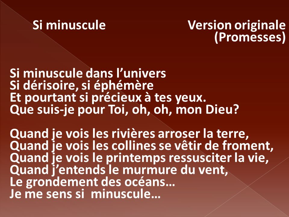 Si minuscule Version originale (Promesses)