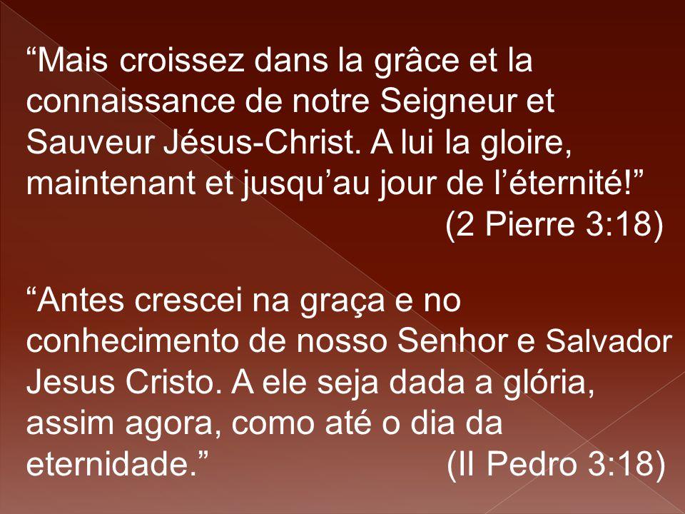 Mais croissez dans la grâce et la connaissance de notre Seigneur et Sauveur Jésus-Christ. A lui la gloire, maintenant et jusqu'au jour de l'éternité! (2 Pierre 3:18)