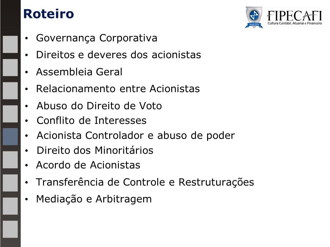 Roteiro Governança Corporativa Direitos e deveres dos acionistas