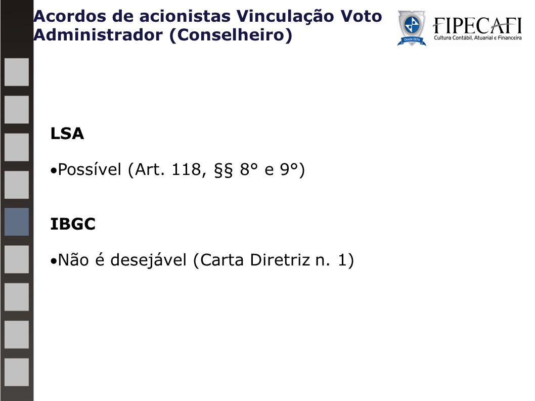 Acordos de acionistas Vinculação Voto