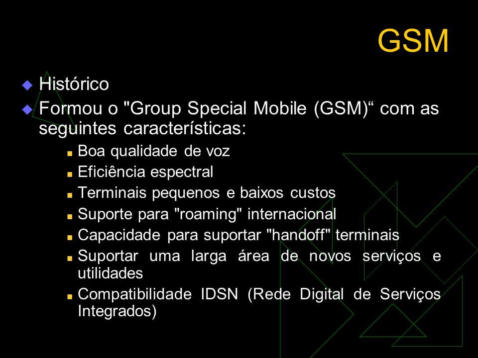 GSM Histórico. Formou o Group Special Mobile (GSM) com as seguintes características: Boa qualidade de voz.