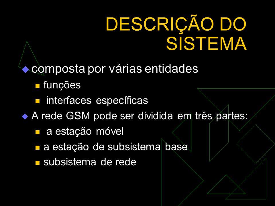 DESCRIÇÃO DO SISTEMA composta por várias entidades funções