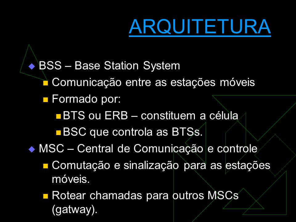ARQUITETURA BSS – Base Station System