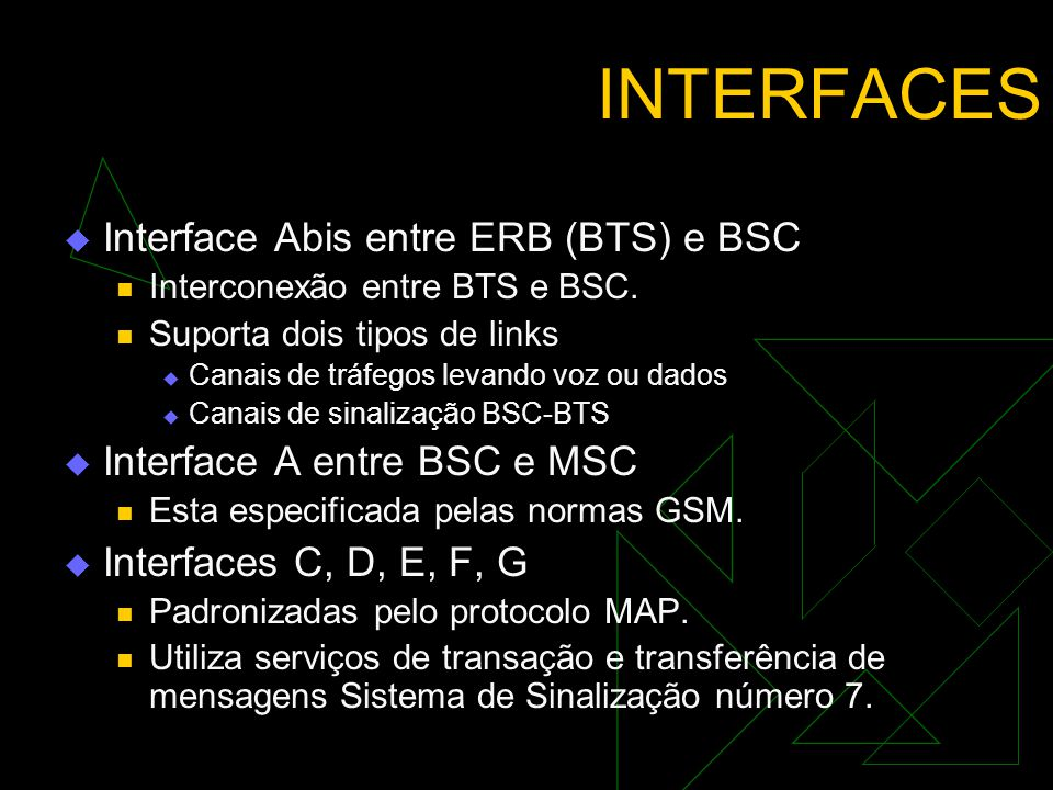 INTERFACES Interface Abis entre ERB (BTS) e BSC