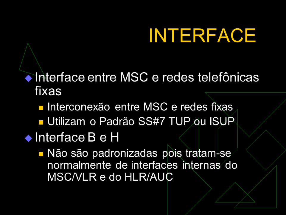 INTERFACE Interface entre MSC e redes telefônicas fixas