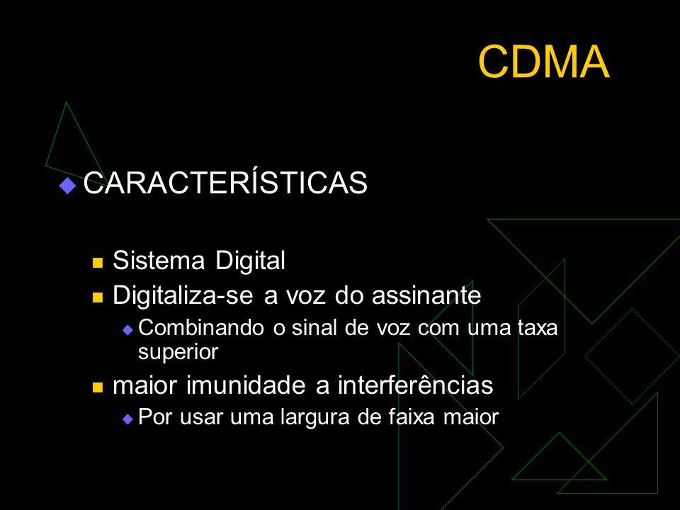 CDMA CARACTERÍSTICAS Sistema Digital Digitaliza-se a voz do assinante