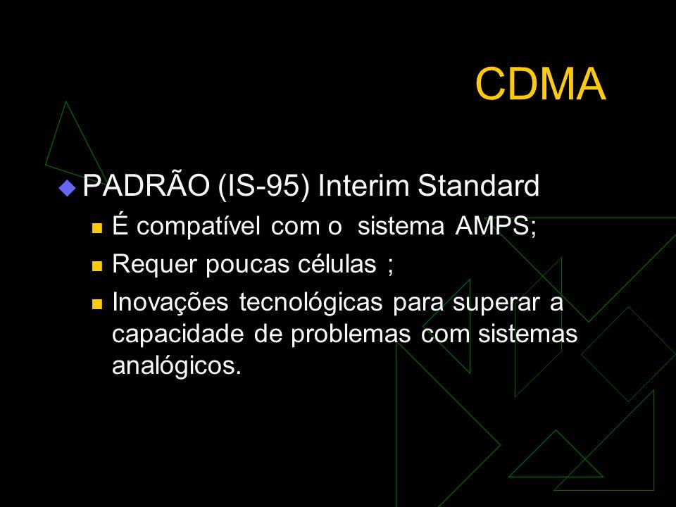 CDMA PADRÃO (IS-95) Interim Standard É compatível com o sistema AMPS;