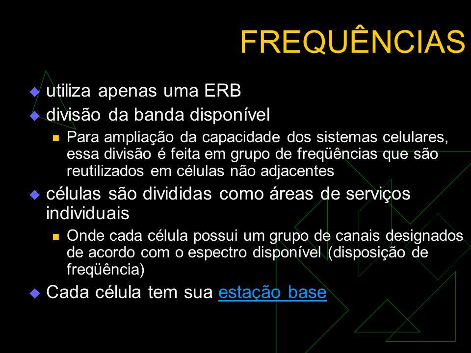 FREQUÊNCIAS utiliza apenas uma ERB divisão da banda disponível