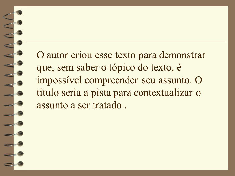 O autor criou esse texto para demonstrar que, sem saber o tópico do texto, é impossível compreender seu assunto.