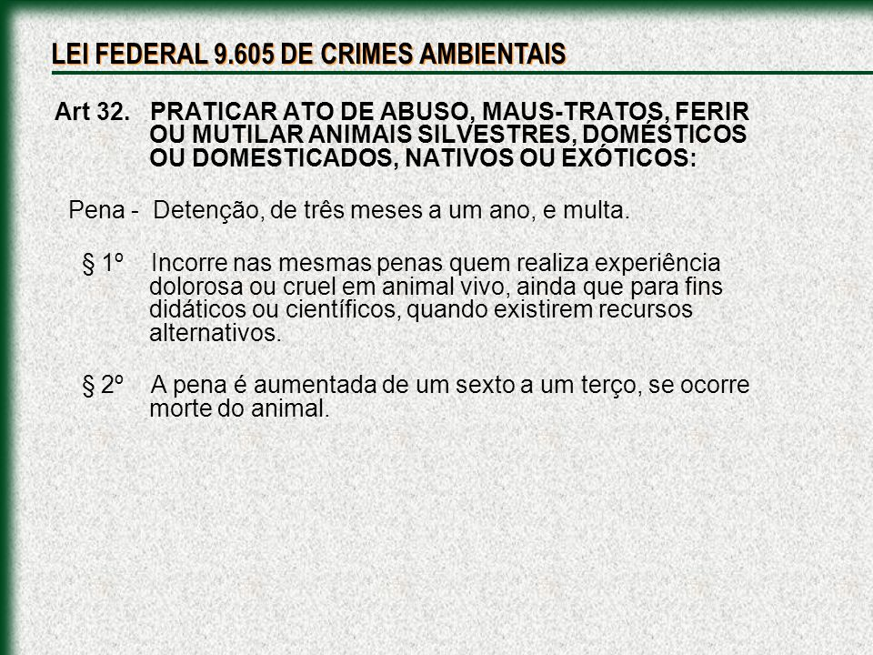 LEI FEDERAL 9.605 DE CRIMES AMBIENTAIS