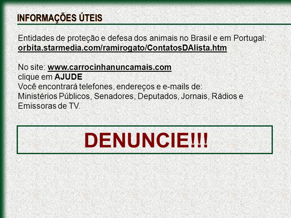 DENUNCIE!!! INFORMAÇÕES ÚTEIS