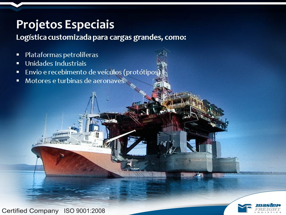 Projetos Especiais Logística customizada para cargas grandes, como: