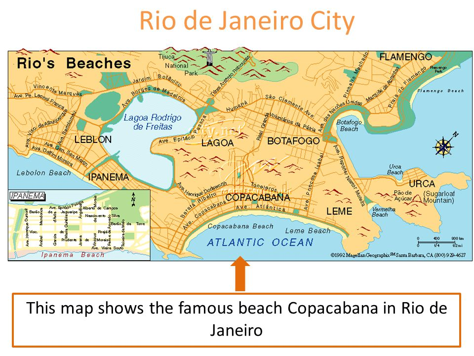 This map shows the famous beach Copacabana in Rio de Janeiro