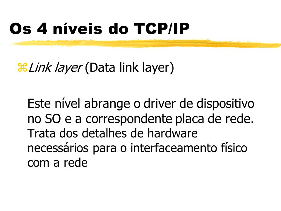 Os 4 níveis do TCP/IP Link layer (Data link layer)