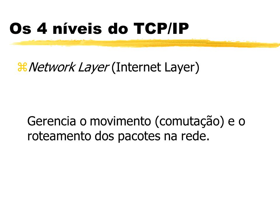 Os 4 níveis do TCP/IP Network Layer (Internet Layer)