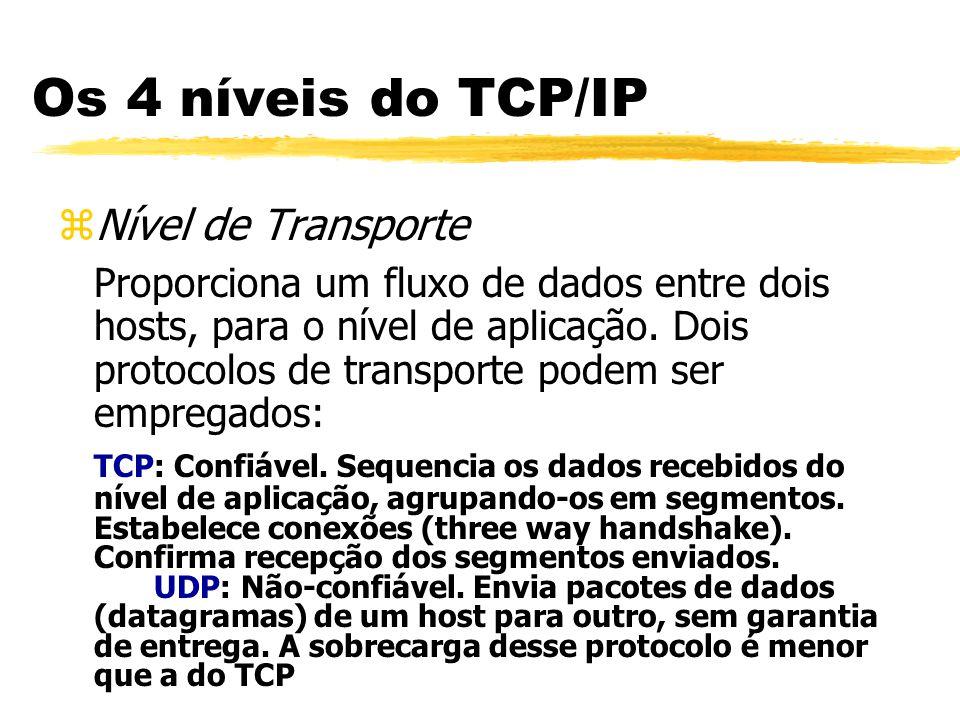 Os 4 níveis do TCP/IP Nível de Transporte