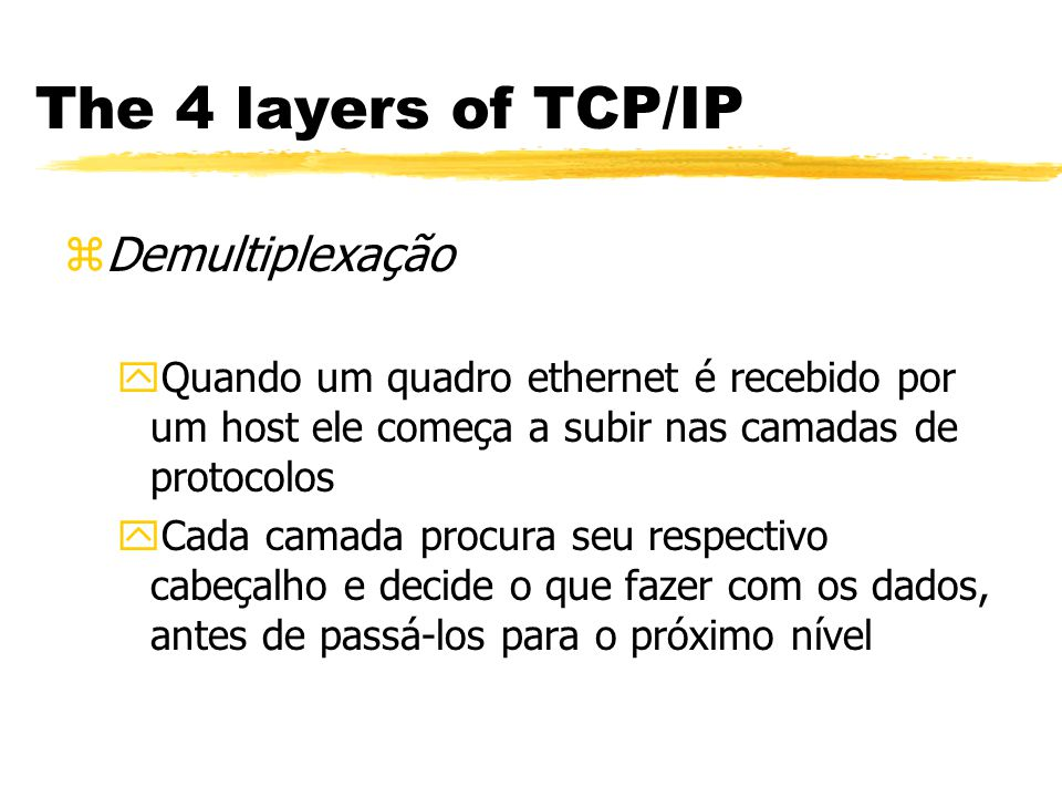 The 4 layers of TCP/IP Demultiplexação