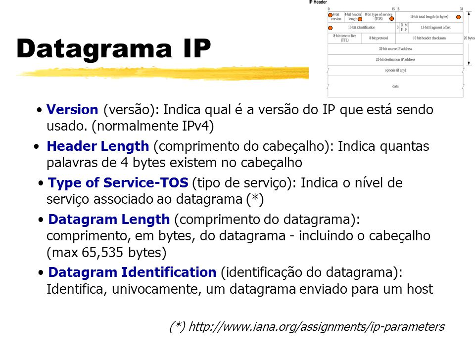 Datagrama IP • Version (versão): Indica qual é a versão do IP que está sendo usado. (normalmente IPv4)
