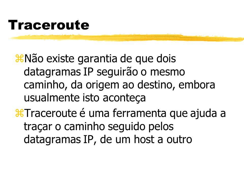 Traceroute Não existe garantia de que dois datagramas IP seguirão o mesmo caminho, da origem ao destino, embora usualmente isto aconteça.