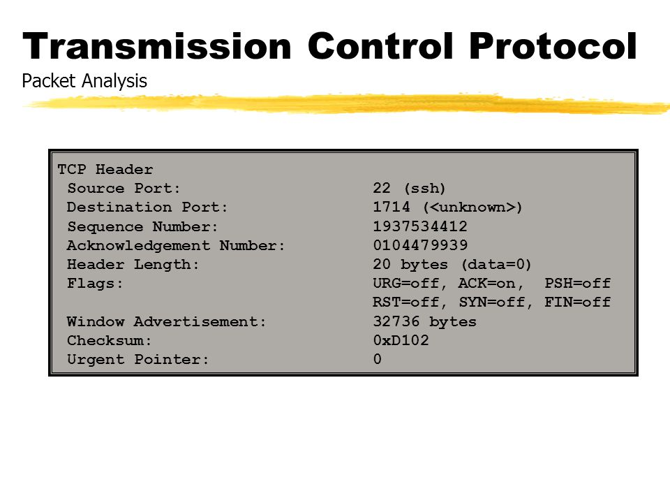 Transmission Control Protocol Packet Analysis