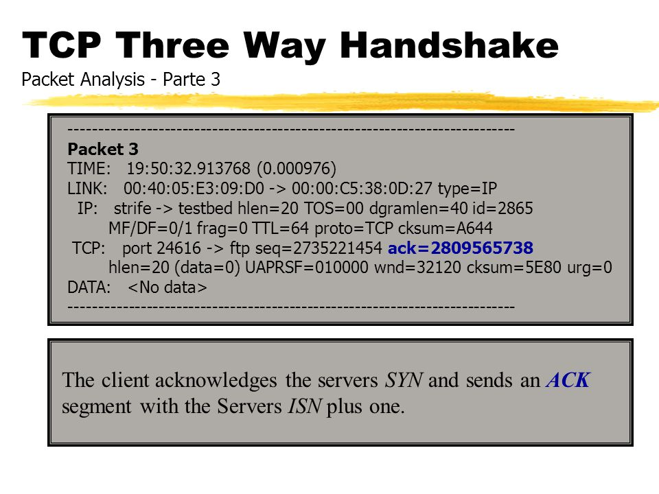 TCP Three Way Handshake Packet Analysis - Parte 3