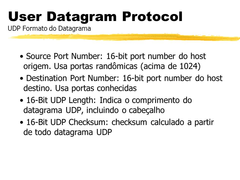 User Datagram Protocol UDP Formato do Datagrama