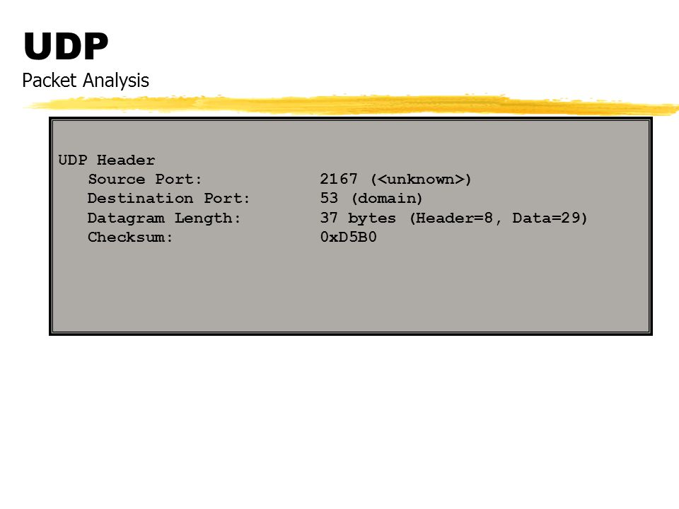 UDP Packet Analysis UDP Header Source Port: 2167 (<unknown>)