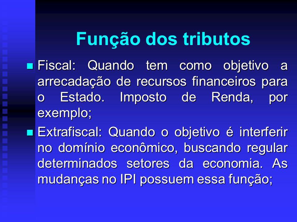 Função dos tributos Fiscal: Quando tem como objetivo a arrecadação de recursos financeiros para o Estado. Imposto de Renda, por exemplo;