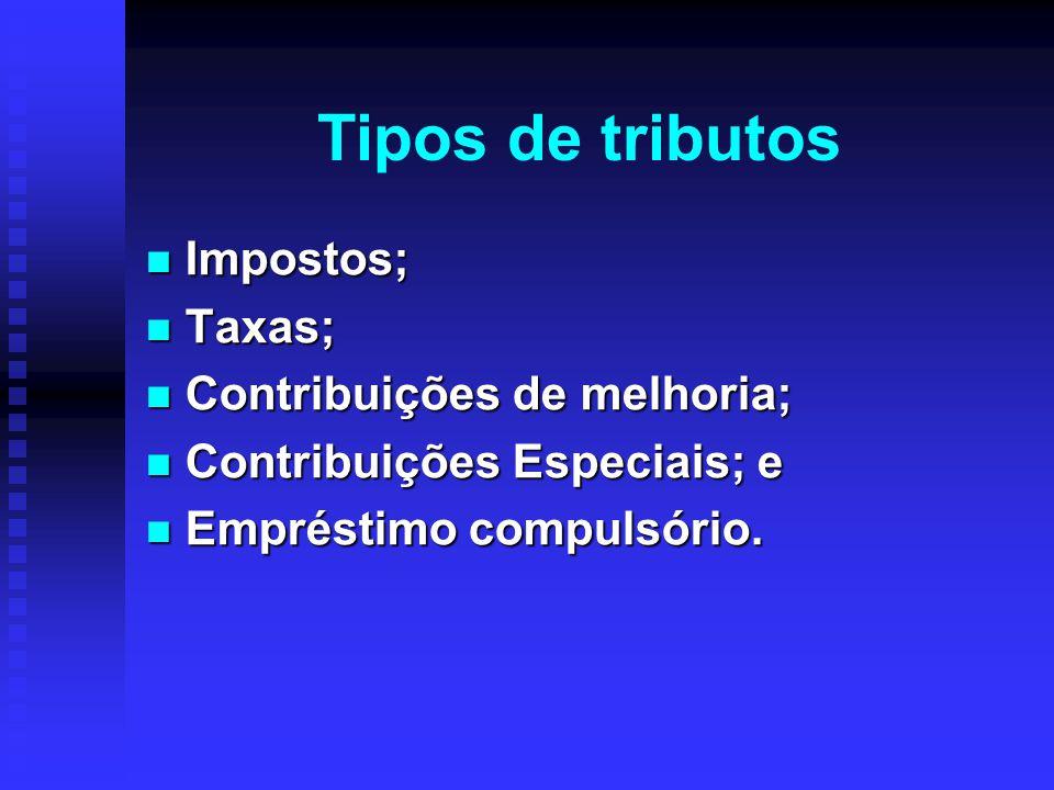 Tipos de tributos Impostos; Taxas; Contribuições de melhoria;