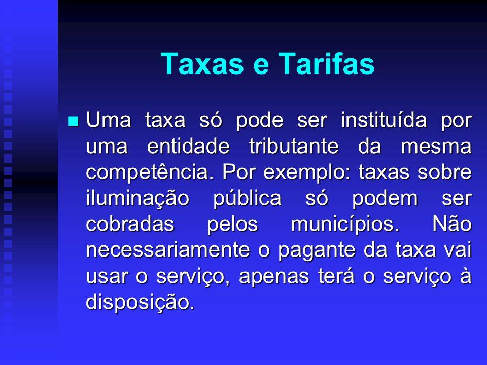 Taxas e Tarifas