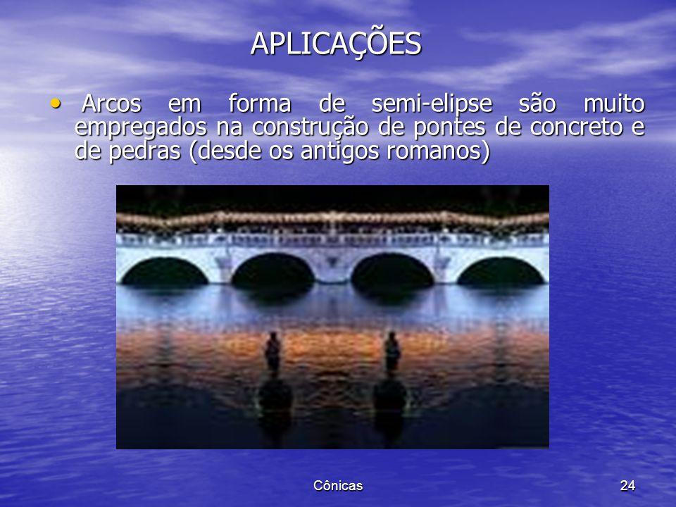 APLICAÇÕES Arcos em forma de semi-elipse são muito empregados na construção de pontes de concreto e de pedras (desde os antigos romanos)