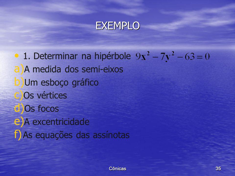 EXEMPLO 1. Determinar na hipérbole A medida dos semi-eixos