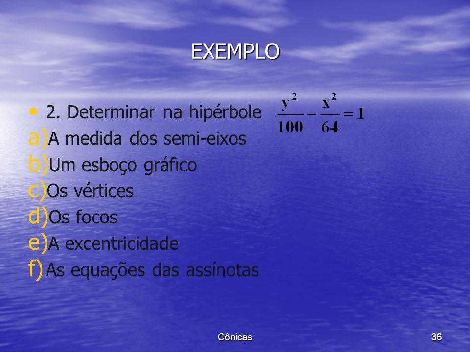 EXEMPLO 2. Determinar na hipérbole A medida dos semi-eixos