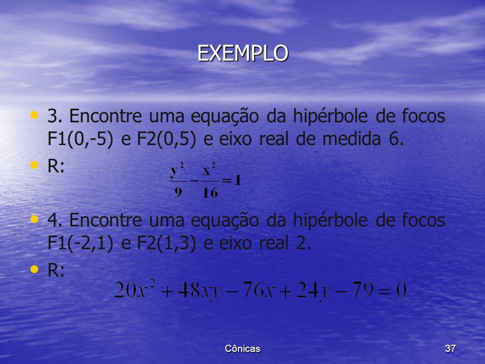 EXEMPLO 3. Encontre uma equação da hipérbole de focos F1(0,-5) e F2(0,5) e eixo real de medida 6. R: