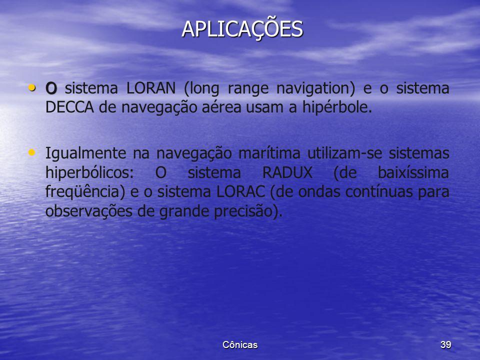 APLICAÇÕES O sistema LORAN (long range navigation) e o sistema DECCA de navegação aérea usam a hipérbole.