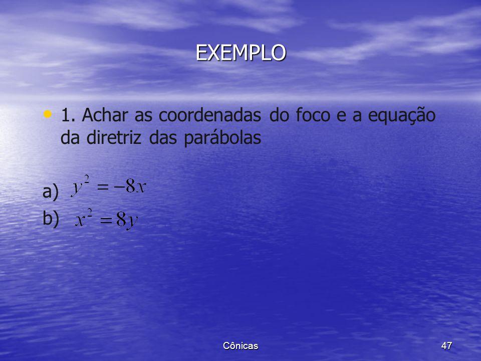 EXEMPLO 1. Achar as coordenadas do foco e a equação da diretriz das parábolas a) b) Cônicas