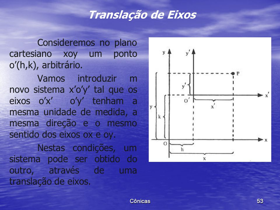 Translação de Eixos Consideremos no plano cartesiano xoy um ponto o'(h,k), arbitrário.