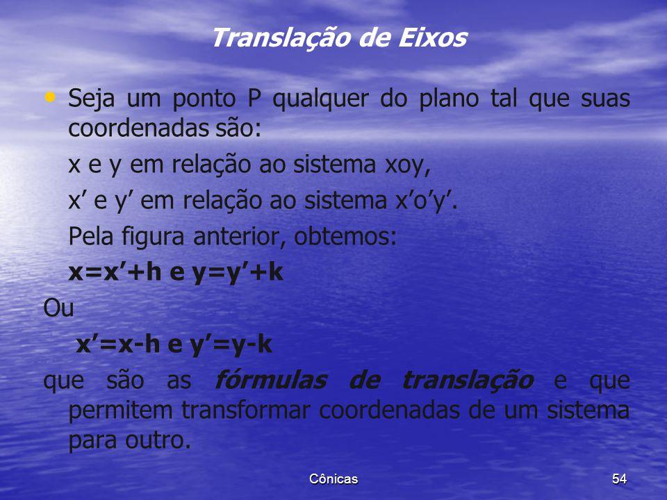 Translação de Eixos Seja um ponto P qualquer do plano tal que suas coordenadas são: x e y em relação ao sistema xoy,