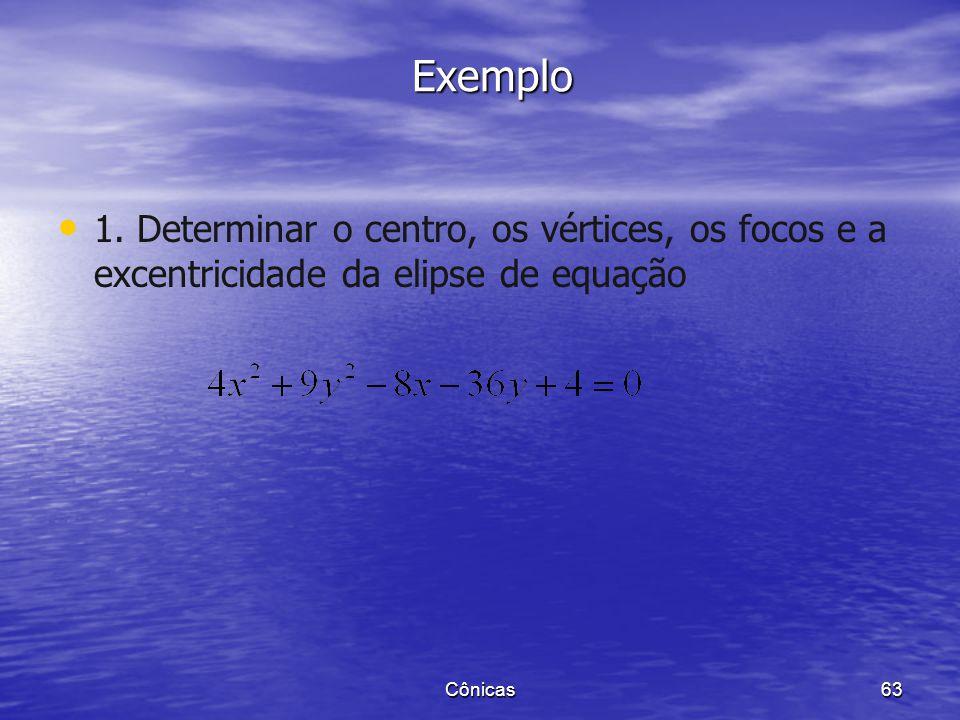 Exemplo 1. Determinar o centro, os vértices, os focos e a excentricidade da elipse de equação.
