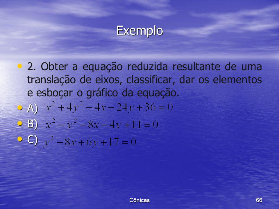 Exemplo 2. Obter a equação reduzida resultante de uma translação de eixos, classificar, dar os elementos e esboçar o gráfico da equação.