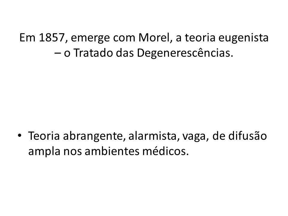 Em 1857, emerge com Morel, a teoria eugenista – o Tratado das Degenerescências.