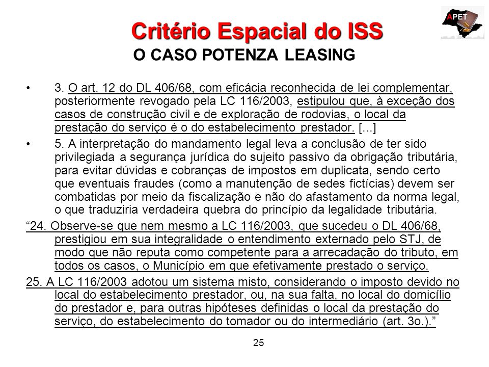 Critério Espacial do ISS