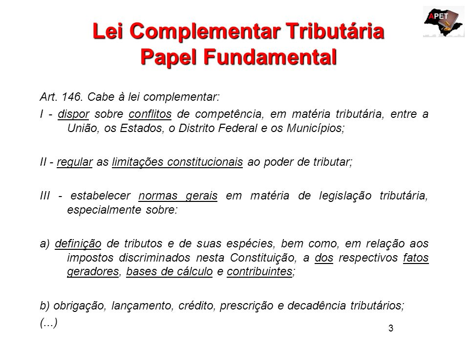 Lei Complementar Tributária Papel Fundamental