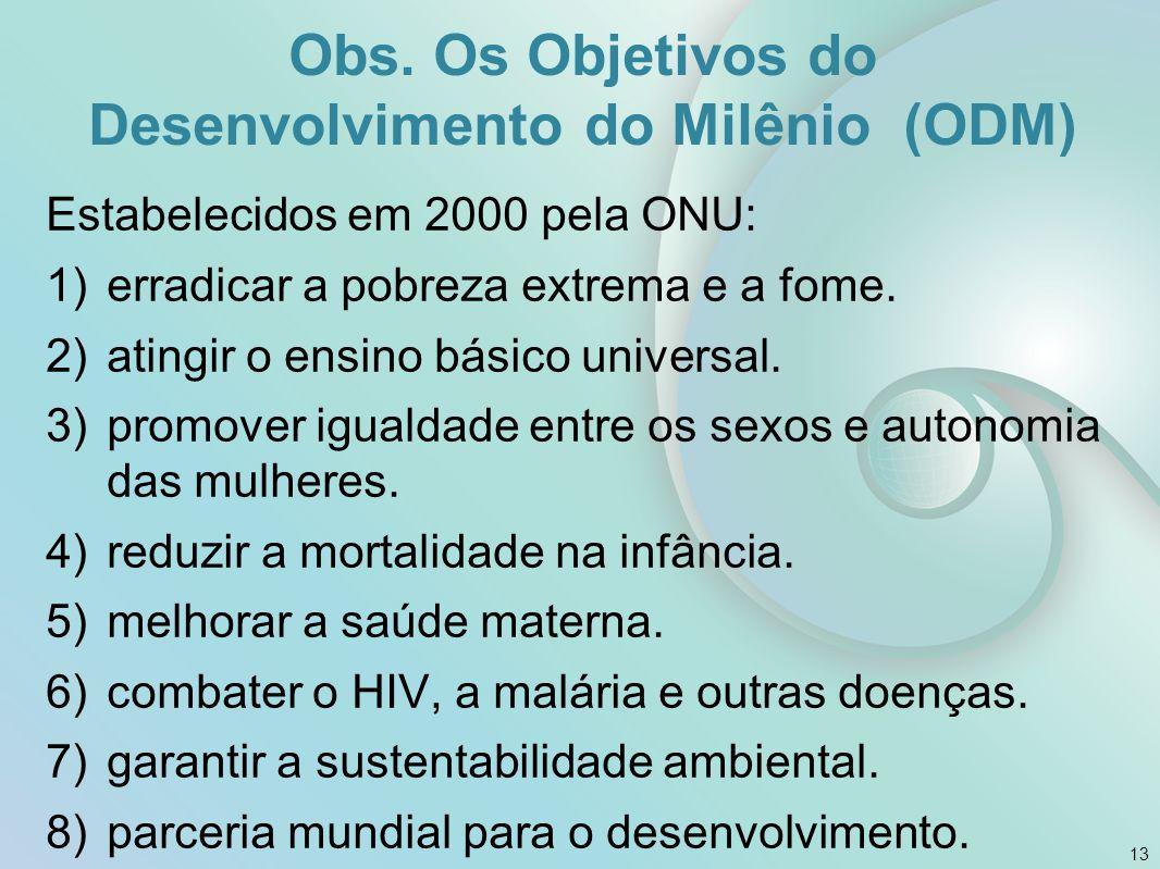 Obs. Os Objetivos do Desenvolvimento do Milênio (ODM)