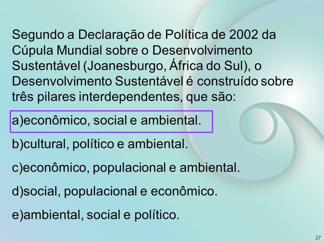 Segundo a Declaração de Política de 2002 da Cúpula Mundial sobre o Desenvolvimento Sustentável (Joanesburgo, África do Sul), o Desenvolvimento Sustentável é construído sobre três pilares interdependentes, que são: