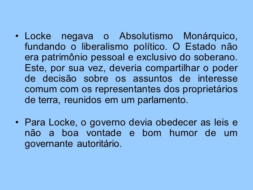 Locke negava o Absolutismo Monárquico, fundando o liberalismo político