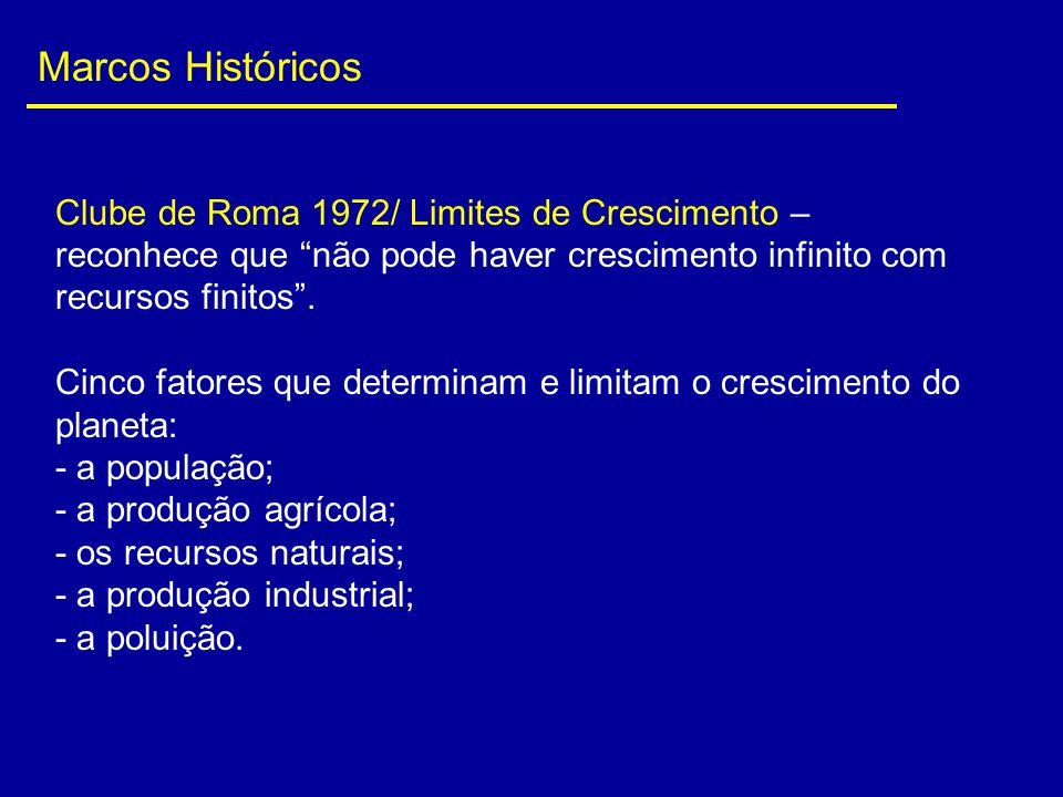 Marcos Históricos Clube de Roma 1972/ Limites de Crescimento – reconhece que não pode haver crescimento infinito com recursos finitos .